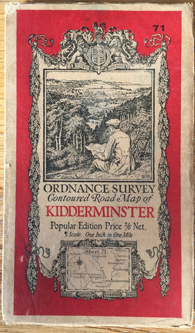 "1920s ORDNANCE SURVEY Contoured Road Map of KIDDERMINSTER 1"" to 1 Mile"