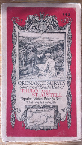 "1920s ORDNANCE SURVEY Contoured Road Map of TRURO and ST AUSTELL 1"" to 1 Mile"