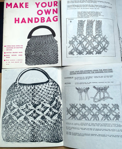 1968 MAKE YOUR OWN HANDBAG -Macrame, Knit, Bead, Weave Knot..Who Knew ?!