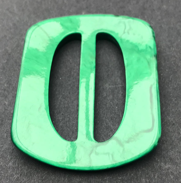 Shimmering Emerald Green 1940s Casein 5.5cm Buckle - Unused Old Warehouse find..