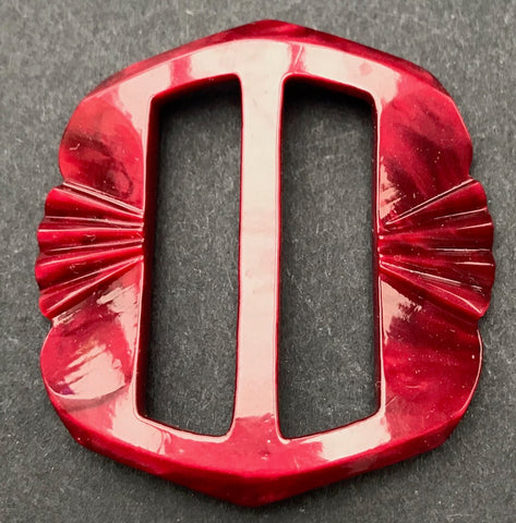 Exciting Ruby Red 1940s Galalith / Casein 4.5cm Belt Buckle - Unused Old Shop Stock