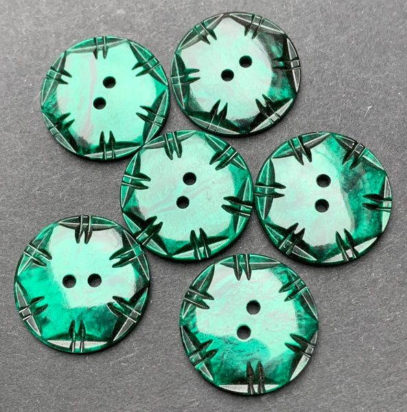 6 Shiny Forest Green Squared Circle 1.6cm Vintage Buttons