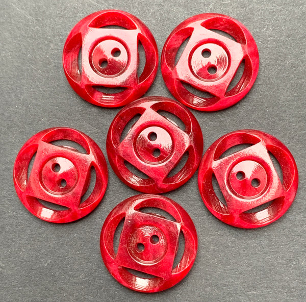 6 Deep Maroon Red Vintage 1.6cm Buttons