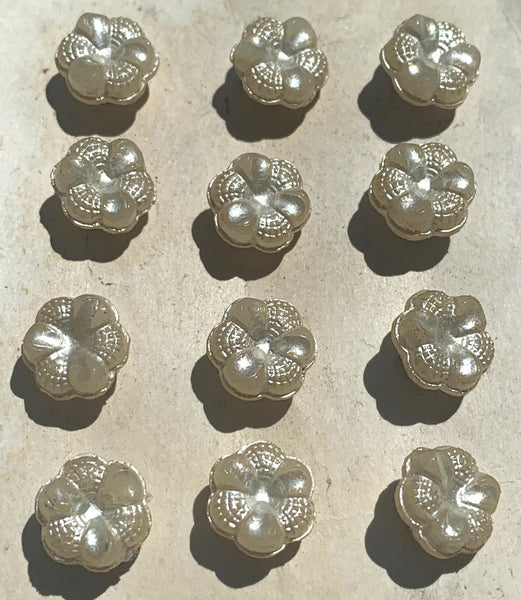 Unusual and Pretty Shimmery Cream 1cm or 1.3cm Vintage Flower Buttons.