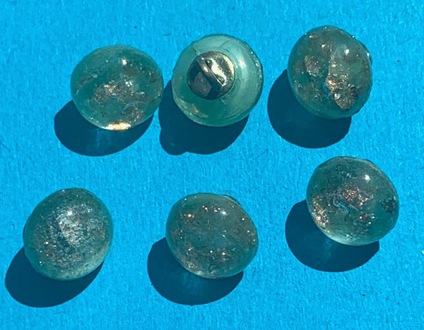 1930s Little 8mm Green and Gold Glass Buttons - Card of 24 or lots of 6.