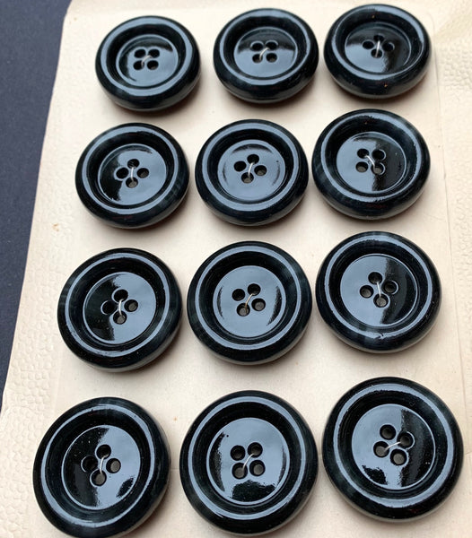 12 Smooth and Chunky 2.7cm Vintage Smudged Black Buttons
