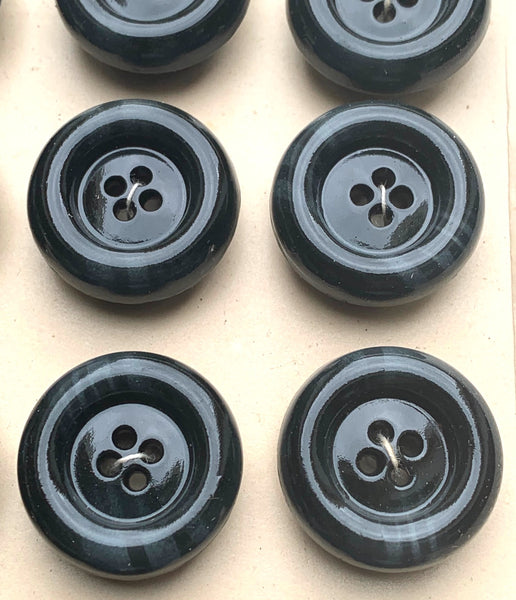 24 Smudged Black Vintage 2cm Buttons...Substantially Smooth and Chunky.