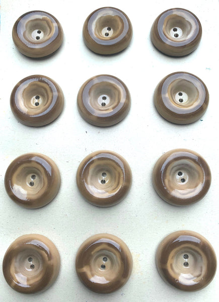 12 Vintage Big 2.7cm Brown Doughnut Buttons