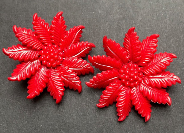 Dramatic Red Vintage Flower Clip-on Earrings