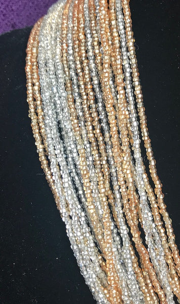 Shimmery Vintage Gold & Silver Glass Bead Necklace