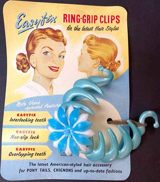 "1940s Easyfix Ring-Grip Clip ""for the Latest Hair Styles..Pony Tails, Chignons.."""
