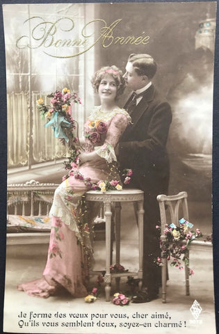 Charming Romantic French 1900s New Year Greetings Postcard