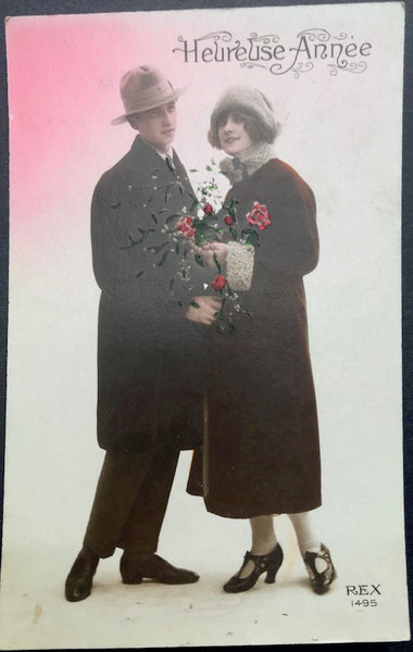 Fancy Footwork on French 1920s New Year Postcard