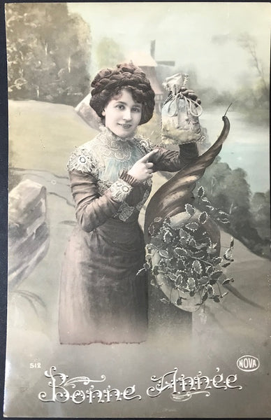 """Look What I've Got..""  1915 French New Year Postcard"