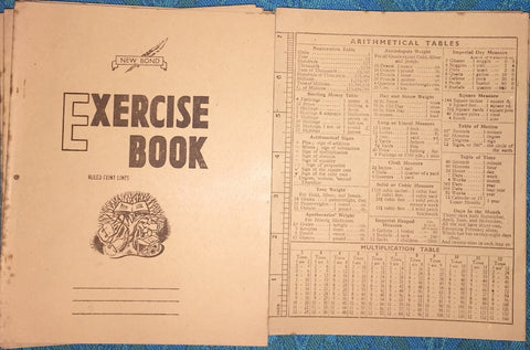 Essential 1950s School Exercise Book with Arithmetical Tables