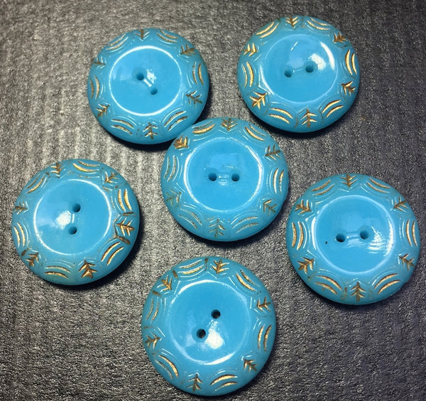 5 Soft Turquoise with Gold Detail Vintage Glass 1.8cm Buttons