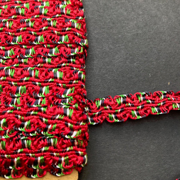 4m of Rather Christmassy Vintage Red & Green Silky Woven Trim - 1cm wide.