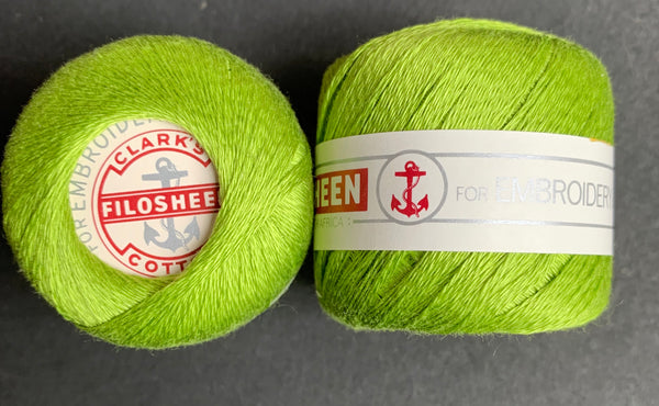 Vintage Anchor Filosheen Bright Green Cotton Embroidery or Darning Thread 12 balls x 22m (0255)