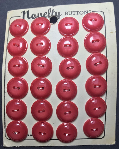 24 Deep Coral Pink 1.5cm Vintage Casein Buttons