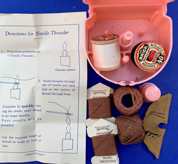 Delightful BRITISH 1940s PRESTO Sewing Box with Thread, Needles, Pins, Thimble and more !
