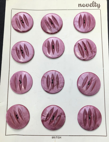 12 Big 2.7cm or 3.5cm Vintage Casein Buttons - Shades of Lilac/Plum/Pink