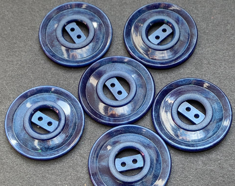 6  Vintage French 2.7cm Petrol Blue Buttons