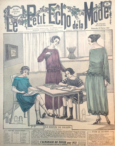 Young Artists on Cover of 12th February 1922 French Fashion Paper Le Petit Echo de la Mode