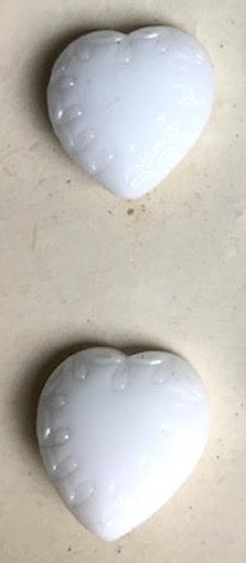 Delicately Etched Vintage 1940s 1.5cm or 1.8cm White Glass Heart Buttons