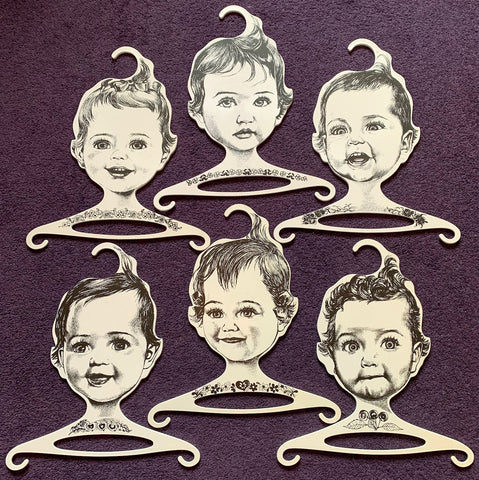 Rare Joyful Baby Head Hangers - 1960s W. German ges.gesch