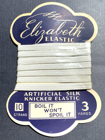 "1940s Artificial Silk Knicker Elastic 3 Yards ""BOIL IT WON'T SPOIL IT"""