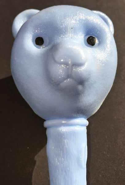 Exceptionally Worried Vintage Teddy Bear Head Rattle
