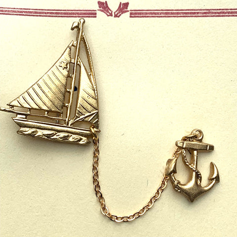 Charming 1940s Sailing Boat and Anchor Brooch...