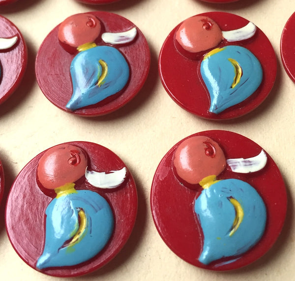 Charming Vintage DUCK Buttons - 2cm - 24 of them - Choice of Colours