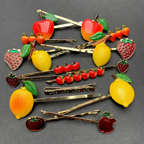 Vintage FRUIT Bobby Pins / Hair slides Apples, Cherries, Lemons, Strawberries, Peaches