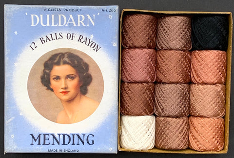 Gorgeous 1940s Box of Stocking & Hosiery Mending Cotton Thread - Made in England