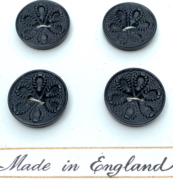 24 Unusual Vintage BLACK Made in England Buttons 1.6cm