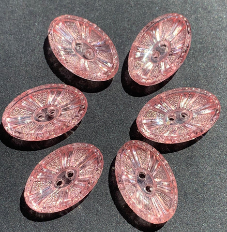 6 Unusual Elliptical Sparkly Vintage Pale Pink Buttons 15 or 17mm long