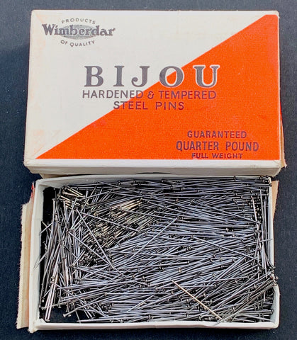 1930s Unopened Quarter Pound Box of BIJOU STEEL PINS by Critchley Bros Stroud