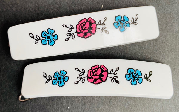 Pair of Cheerfully Innocent 1950s Flower Hair Clips - Choice of 4 colours...