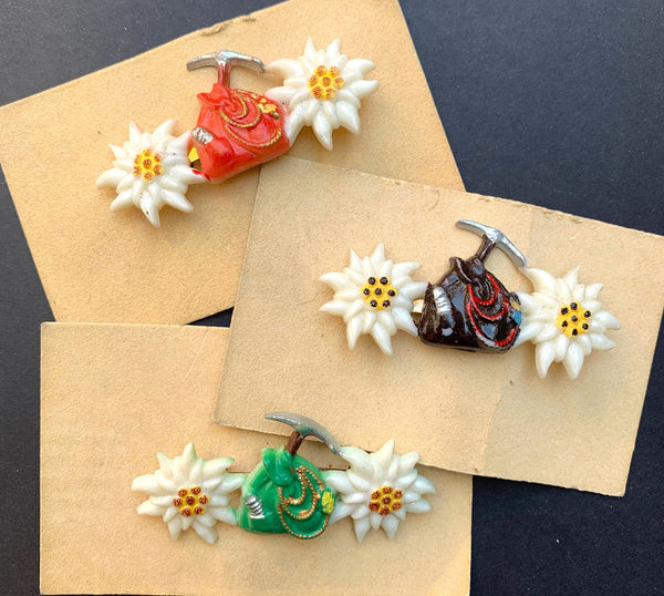 1940s Hand Painted Celluloid Edelweiss and Rucksack Brooches