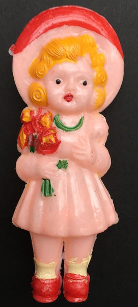 Gorgeous Vintage 1940s Doll Rattle - Little Girl With Flowers - 9cm tall