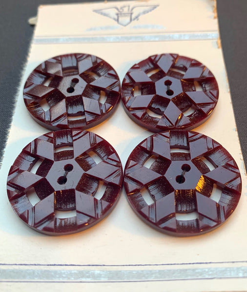 Complicated - but in a Good Way...Vintage Burgundy Buttons -2.8cm, 2.2cm or 1.8cm