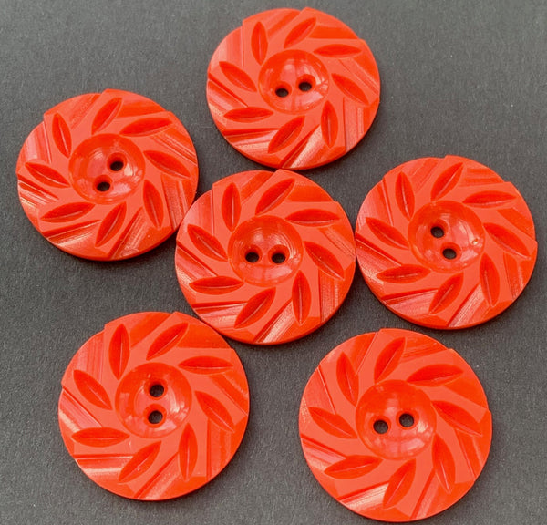 6 Energetic Candy Red Vintage Casein 2.2cm Buttons