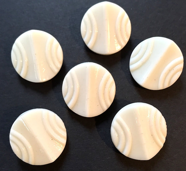 6 Vintage 1940s Deco White Glass Buttons 1.3cm or 1.8cm wide