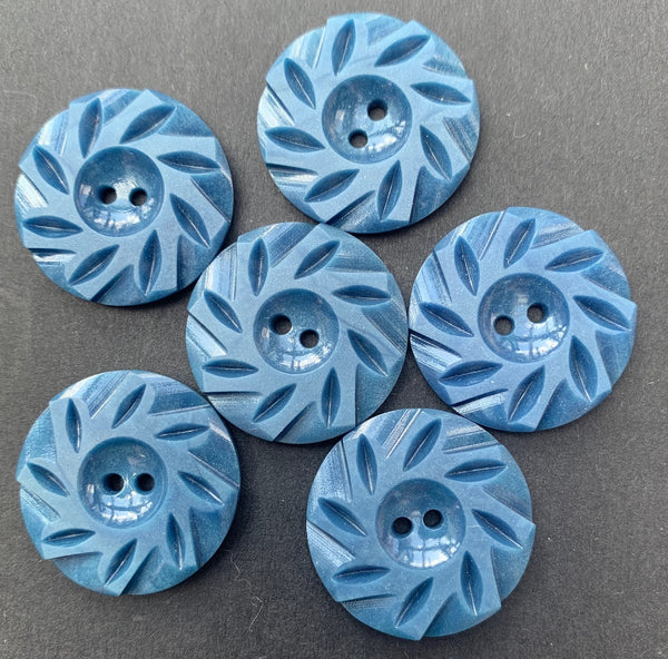 6 Soul Calming Stone Blue Vintage 2.2cm or 1.7cm  Buttons