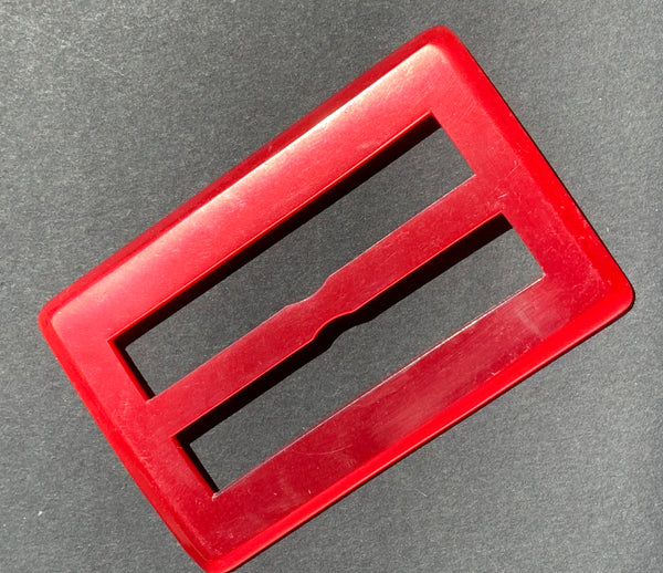 Deep Red Glowing 1940s Lucite 8.3cm Belt Buckle