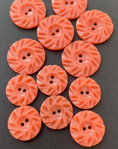 6 Vintage Casein Coral pink 2.2cm or 1.7cm  Buttons