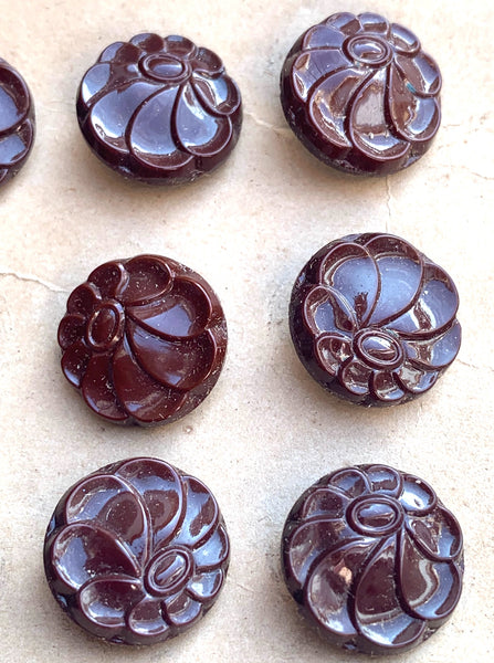 1940s Brown Glass 1.5cm or 1.8cm Flower Buttons