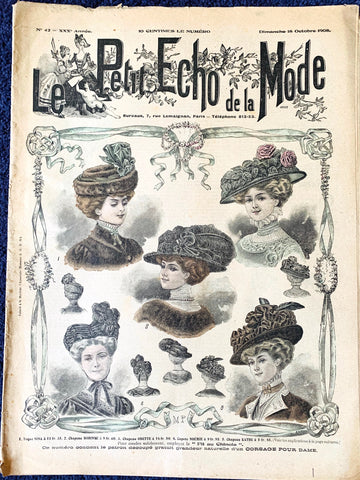 Gorgeous Edwardian Hats on cover of 18th October 1908 French Le Petit Echo de la Mode