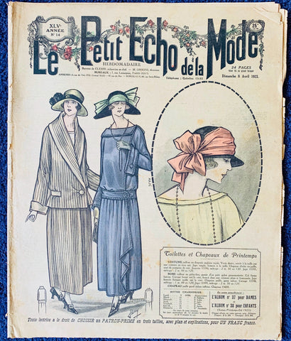 Marvellous Hats and Knitting in 1923 French Fashion Paper Le Petit Echo de la Mode